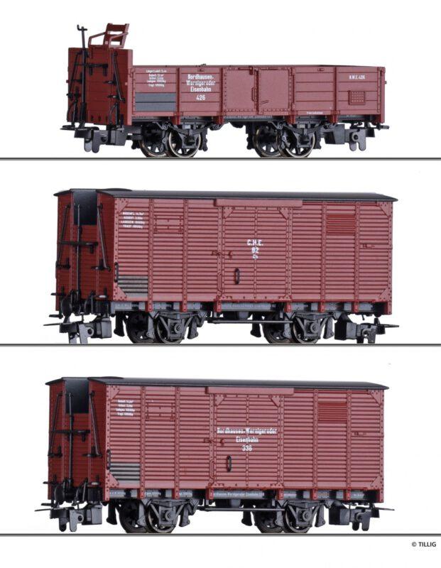 Güterwagenset der NWE / GHE, bestehend aus einem offenen Güterwagen und zwei gedeckten Güterwagen, Ep. II - Art.-Nr.: 01273